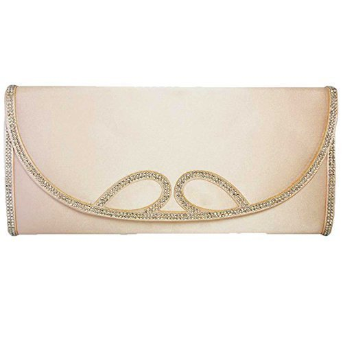 FANTASIA da donna Diamante piattaforma per feste Criss Cross cinghia da donna di scarpa con tacco alto frizione borsa (Taupe (bag only))