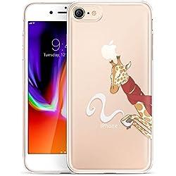 HopMore Fundas iPhone 8 Case Silicona Transparentes Motivo Manzana