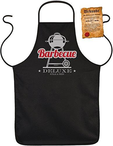 Lustige Sprüche Fun Schürze Barbecue DeLuxe Steak and Beer - Grill-Schutz mit SpaßUrkunde -