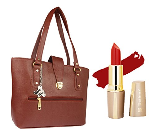 Women Handbags Ladies Fashion Brown Shoulder Bag by Lady Fashion + Free Creamy Matte Lipstick(-04)