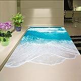 Syssyj Pvc Selbstklebende Wasserdichte 3D Boden Wandbilder Sea Wave Bad Wohnzimmer 3D Bodenfliesen Tapete Aufkleber3 D-280X200CM