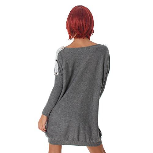 Voyelles Damen Pullover Pulli Shirt Longpulli Carmen-Ausschnitt Sweater Langarm Sweatshirt Pulloverkleid Longshirt Fledermausärmel Grau