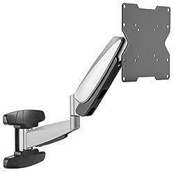 RICOO Monitor Halterung Wand S9222 Universal für 23-42 Zoll (ca. 58-107cm) Gasfeder Schwenkbar Neigbar TV Wandhalterung Halter auch für Curved LCD und LED Fernseher   VESA 75x75 200x200 Silber Grau