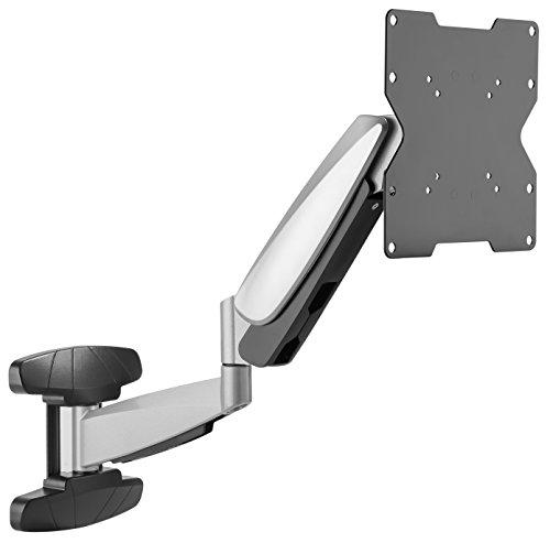 RICOO Monitor Halterung Wand S9222 Universal für 23-42 Zoll (ca. 58-107cm) Gasfeder Schwenkbar Neigbar TV Wandhalterung Halter auch für Curved LCD und LED Fernseher | VESA 75x75 200x200 Silber Grau