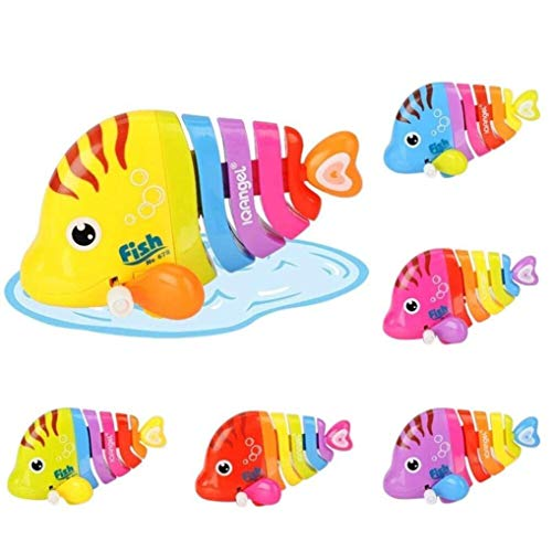 Zuffon Key Operated Wind up Stalking Toy: Mini Robotic Fish in Candy Colours. Pack of 2