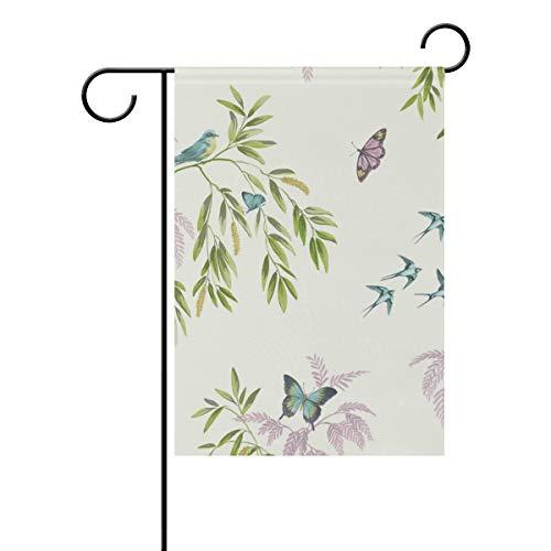 MALPLENA Malpela Arthouse Vintage Halcyon Days Cream Birds Butterf Flag Garden Premium Schimmelresistent, Polyester, 1, 28x40(in) -