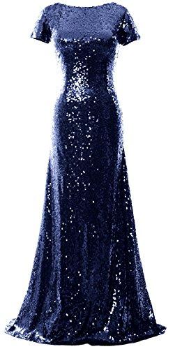 MACloth Mermaid Cap Sleeve Sequin Long Bridesmaid Dress Formal Evening Gown Dark Navy