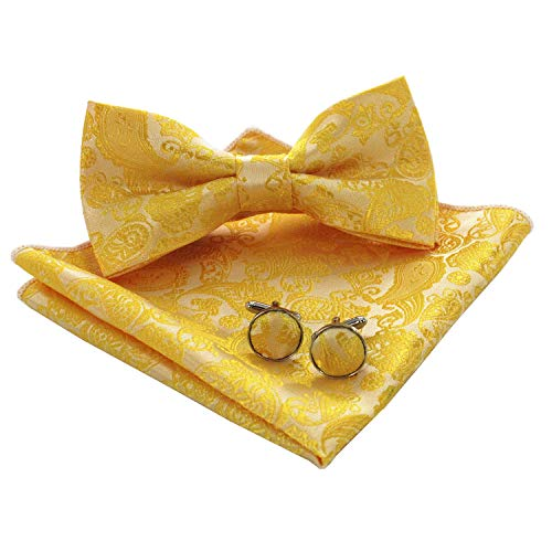 JEMYGINS Gelb Paisley Fliege und Einstecktuch mit Manschettenknöpfe Sets für Herren (Gelb)