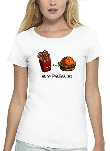 Partner Premium Damen T-Shirt aus Bio Baumwolle Fries + Burger Marke Stanley Stella White