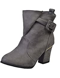 FARALY Mujeres Martin Bota Suede Punta Toe Chunky Heel Bota Corta Otoño Invierno Warm Buckle Mujer Zapatos Casual ( Color : Gray , Size : 38 )