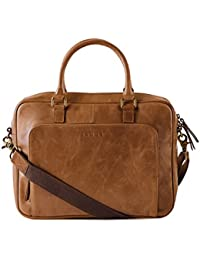 Gauge 15 Inch Leather Laptop Bag Messenger Bag Office Briefcase College Bag Satchel For Men (Tan)