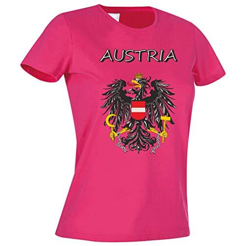Mega Cooles Damen T-Shirt - Österreich Austria trendiges T-Shirt oder Leiberl - Aufdruck: Austria mit Staatswappen/Adler (Pink, Medium)