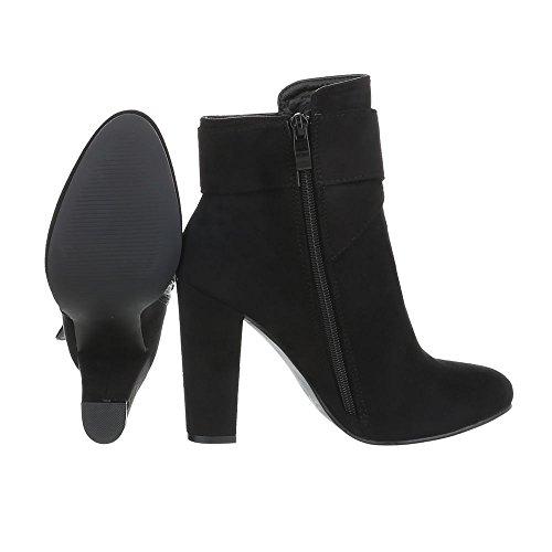 Ital-Desig Damen Schuhe, 3VAX-2279 Stiefel Schwarz 77-2