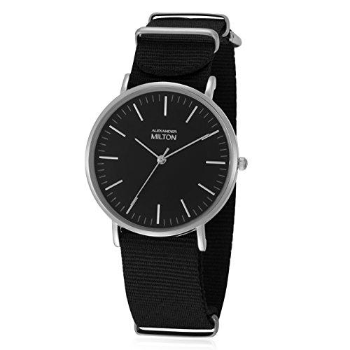 ALEXANDER MILTON - montre homme - LAREN, noir/argente