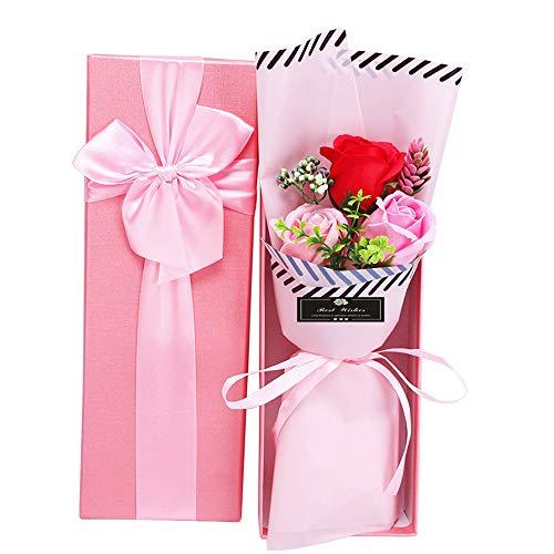 Auntwhale 3 duftende Seifenrosen-Geschenkbox, Soap Rose Bouquets mit Geschenkbox, Geeignet für das Geschenk des Geburtstags-Muttertags zum Valentinstag - Duftende Rose Soap