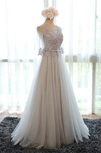 Eudolah Maxi robe de soirée en tulle pailletée parsemée des fleurs demoiselle d'honneur femme Gris-M