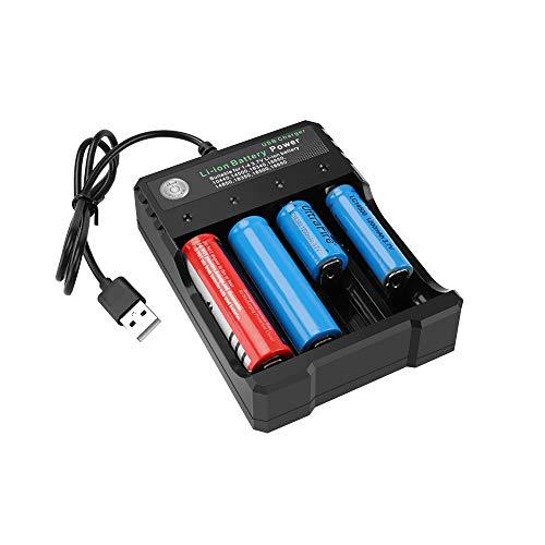 Caricabatterie per Pile Ricaricabili 4 Slot con Indicatore LED, Caricabatteria con porta USB Auto-scarica Ridotta Senza Schermo LCD Adatto per Li-ione 18650/16340/18350/18500/ NiMh/NiCd/AAA/AA