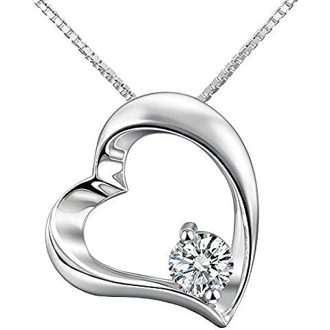 Adan Banfi plata de ley Collar con colgante de corazón chapado en oro blanco Joyas con circonita