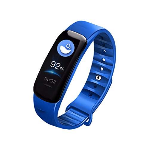Happy-day Unisex Fitness-Tracker, Damen-Smart-Watch, Herzfrequenz-Monitor, IP68, wasserdicht, Schrittzähler, Schlafüberwachung, Smartwatch für Android iOS S blau