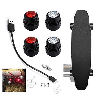 MOCRIS 4Pcs LED Skateboard LED Lichter Warnung Sicherheitsnacht für 4 Räder Skateboard Longboard