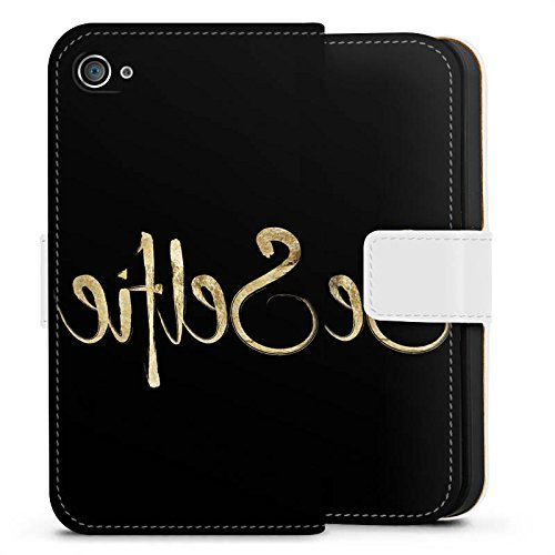 Apple iPhone X Silikon Hülle Case Schutzhülle Selfie Spiegel Gold Sideflip Tasche weiß