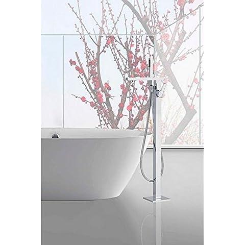 GOWE-Rubinetto a cascata in metallo cromato lucido-Set doccia con Miscelatore indipendente per vasca da bagno e doccia, montaggio a pavimento, portatile