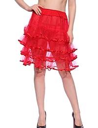 MABOOBIE 1 Jupon Tutu Transparent avec Froufrou 4 Couches pr Femme Fille Rouge