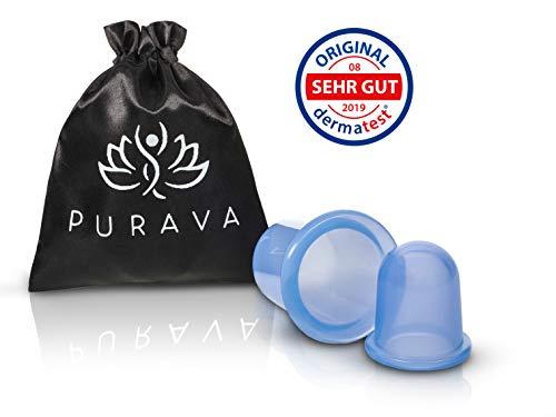 DERMATEST: SEHR GUT - PURAVA® [2 Stück] Silikon Schröpfgläser mit verbessertem Konzept [2019] - Inklusive E-Book - Hochwertige medizinische Saugglocken - Optimal gegen Verspannungen