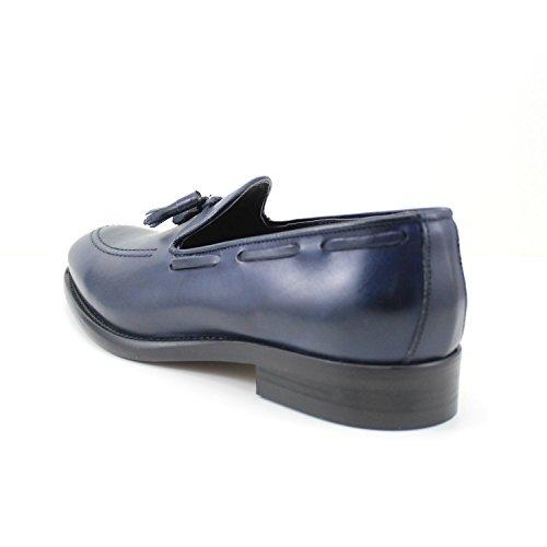 Giorgio Rea Zapatos De Hombre Mocasines Con Borlas Zapatos Para Hombres Hecho A Mano En Italia Mocasines Elegante Ceremonia De Negocios Formal Azul Azul