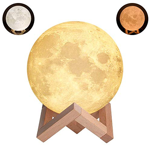 Nacht Licht Beleuchtung LED 3D Druck Warme Mond Lampe Touch Control Helligkeit Geschenk für Kinder und Halloween Ausrüstung (10CM)