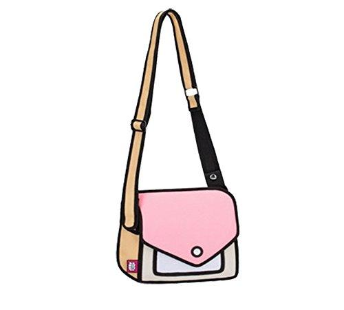 MissFox 3D Designunico Donne Messaggero Borse Spalla Pink