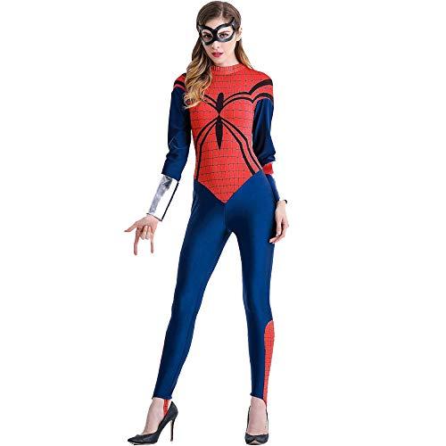 (WU LAI Kunstleder Katze Damen Jumpsuit Schwarz Stretch PVC Strumpfhosen Sexy Siamesische Unterwäsche Spider-Man Kostüm,Red-M)
