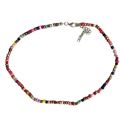 Mehrfarbig Reisperlen Kurze Halskette Halskette Schmuck Perfektes Geschenk zum Damen, Geeignet Strand Urlaub (Multicolor, Free Size) ()