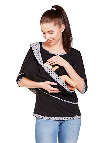 Be Mama! 3in1 Umstandsshirt, Stillshirt und Stillschal im Set: TEMI, lang- oder kurzarm, FARBAUSWAHL Kurzarm/Schwarz-Grau
