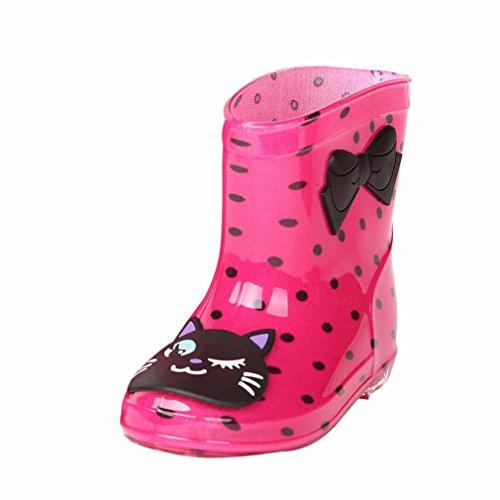 (JERFER Unisex-Kinder Jungen Mädchen Stiefel Wasserabweisend Kinderstiefel Federleichte Gummistiefel (24, Heißes Rosa))