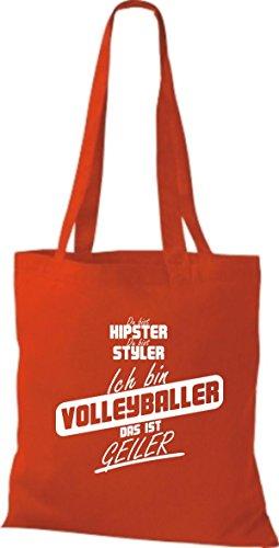 Shirtstown Stoffbeutel du bist hipster du bist styler ich bin Volleyballer das ist geiler rot