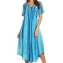 Sakkas Myani dos tonos bordó Sheer manga del casquillo del vestido caftán larga   Cubrir