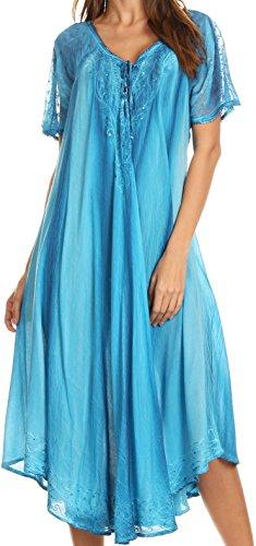 Sakkas 17604 - Myani Two Tone Gestickte Sheer mit Flügelärmeln Kaftan langes Kleid | Cover Up - Turq - OS (Kleider Mädchen In Schiere)