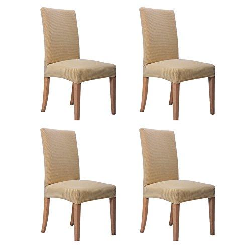 Hemons 4pezzi jacquard rimovibile e lavabile per sala da pranzo della sedia protector sedile slipcover per hotel, sale da pranzo, cerimonia beige-1