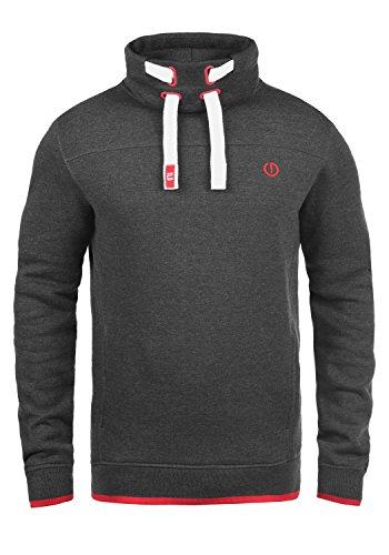 !Solid Benjamin Herren Sweatshirt Pullover Pulli Mit Stehkragen Und Fleece-Innenseite, Größe:L, Farbe:Med Grey (8254)