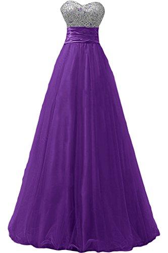 Gorgeous Bride Elegant Lang Traegerlos Empire Tuell Satin Abendkleid Ballkleid Festkleid Lila