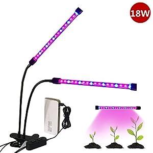 Doppelkopf Pflanzenlicht LED Pflanzenbeleuchtung dimmbar 360° Pflanz Leuchte 18W