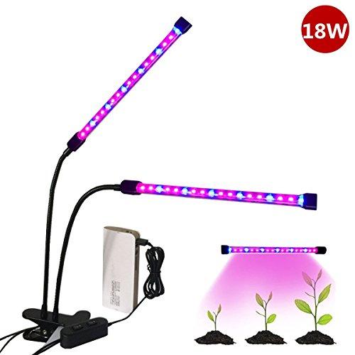 2017-NEU-Doppelkopf-LED-Pflanzenlampe-Florally-18W-Pflanzenleuchte-USB-Pflanzenlicht-Wachstumslampe-36-LEDs24-Rote-12-Blaue-2-Lichtmodi-verstellbar-Grow-Licht-Wachsen-Lichter-Klemmleuchten-mit-360-Gra