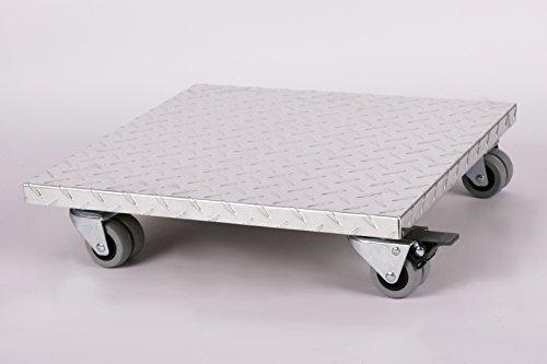 Möbelroller / Pflanzenroller (Profi) 40x40 cm, ALU, 300kg, Doppelrollen + Bremse, Marke: Szagato, Made in Germany (Design-Pflanzenroller Transportroller Rollbrett) -