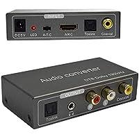 192KHz Convertidor de Audio Multifunción,Tiancai Adaptador Audio HDMI ARC or Toslink(Optical) or Coaxial to Toslink(Optical) + Stereo L/R + 3.5mm Jack + Coaxial Output