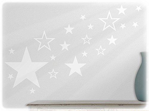 wandfabrik - Wandtattoo - 82 praktische Sterne in weiß