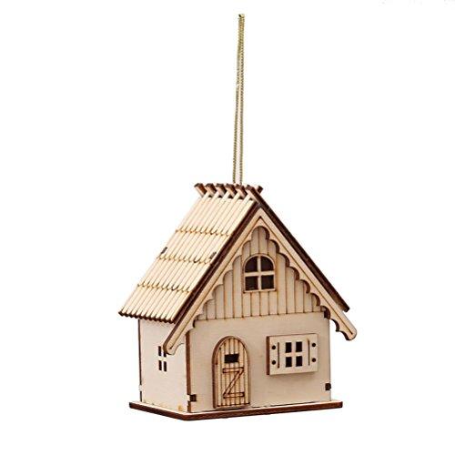 Deco Noel en Bois Tinksky Maison de Noel Miniature Lumineux Suspension Noel