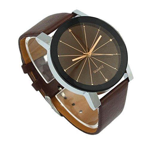 ❤️Montres Homme, Amlaiworld Hommes Cadran quartz horloge Montre-bracelet en cuir Montre ronde de cas❤️ (1, Cafe)
