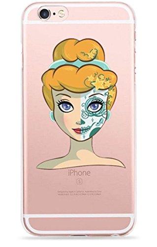 Phone Kandy® Ultra dünner Zucker-Schädel-Prinzessin-Tag des toten freien transparenten TPU Silikon-Zombie-Karikatur-Fall-u. Schirm-Schutzes Hülle Abdeckung Haut tascen (iPhone 7, 7. (Schutz Zombie)