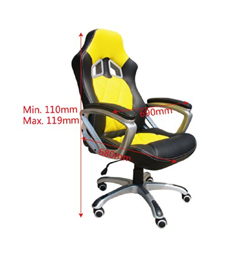 BTM High Back Executive Swivel Computer Desk Office Chair Racer Gamer Chair Yellow / Black